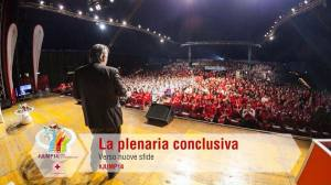 L'assemblea plenaria conclusiva del più grande evento formativo della Croce Rossa Italiana. Sul palco il Presidente Rocca