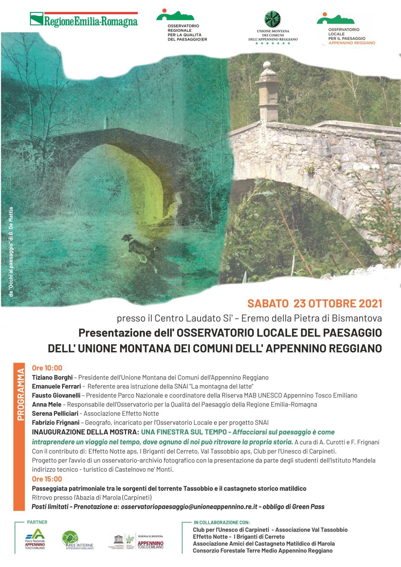 Castelnovo Monti, Eremo della Pietra di Bismantova: presentazione dell'Osservatorio Locale del Paesaggio
