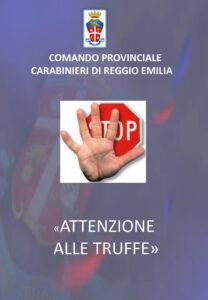 Copertina dell'opuscolo del Comando provinciale dei carabinieri contro le truffe