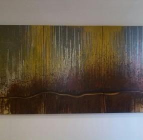 """Giordano Montorsi olio su tela delle dimensioni di cm 150 x 300, dal titolo """"Quando l'estate è nei campi"""""""