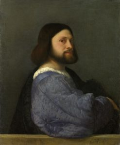 Full title: A Man with a Quilted Sleeve Artist: Titian Date made: about 1510 Source: http://www.nationalgalleryimages.co.uk/ Contact: picture.library@nationalgallery.co.uk Copyright © The National Gallery, London