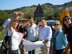 Sopralluogo sp direttore Mainetti  terzo da destra, tra presidente Masini e assessore Gennari