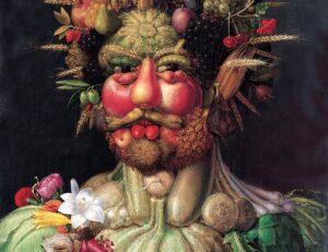 Vertumno , un ritratto raffigurante Rodolfo II, imperatore del Sacro Romano dipinto come Vertumno , dio romano delle stagioni, c. 1590-1. Castello di Skokloster Svezia