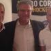 Presidente Sportivi ghiaccio Cortina Sig Lacedelli al centro L'allenatore Jhon Parco a sinistra e il Direttore sportivo Giorgio De Bettin